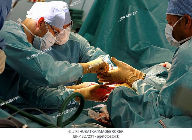 Surgeons during surgery, total hip replacement, surgery department, hospital, Czech Republic