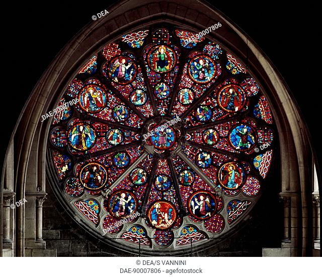 Rose window, north transept of the the primatial Cathedral of Saints John the Baptist and Stephen, Lyon, Rhone-Alpes. Detail. France, 18th century