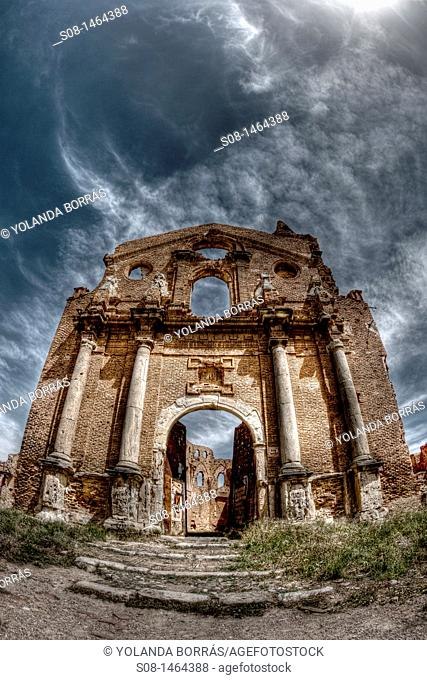 Belchite City, Old Belchite, ruins of the town destroyed during the civil war, Aragon, Zaragoza Province, Spain, Europe