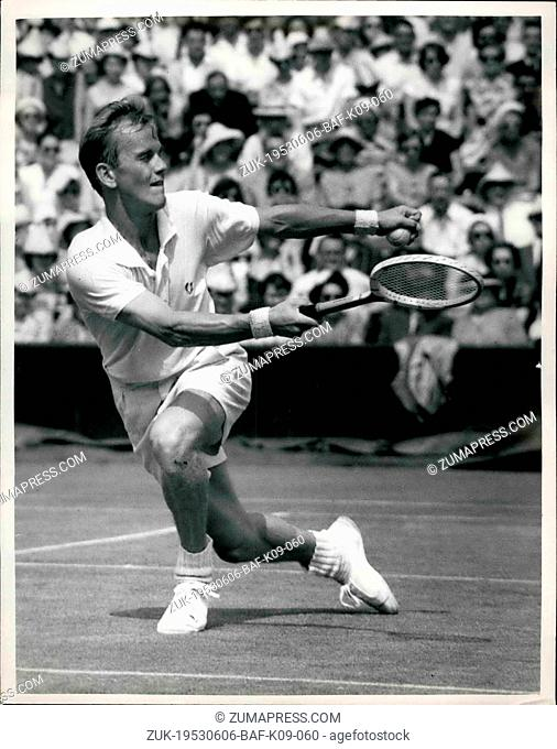 Jun. 06, 1953 - Tennis At Wimbledon Stockenberg V Mulloy: Photo shows. S. Stockenberg, of Sweden, in action during his match against G. Mulloy (U.S.A