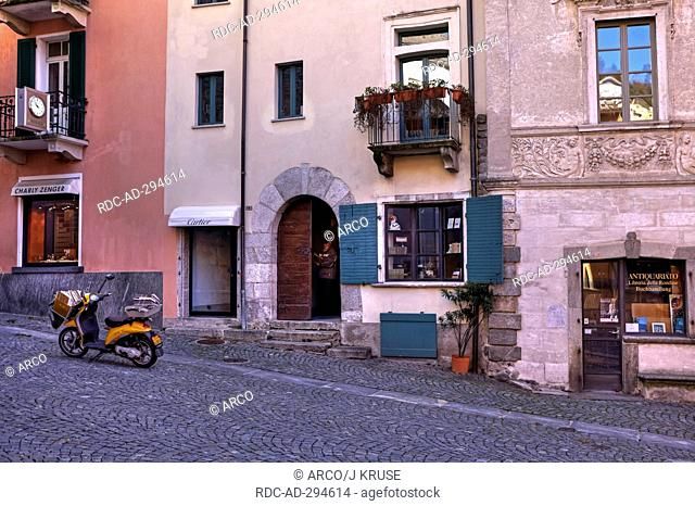 Post delivery, Piazza San Pietro, Ascona, Ticino, Switzerland / scooter, postman