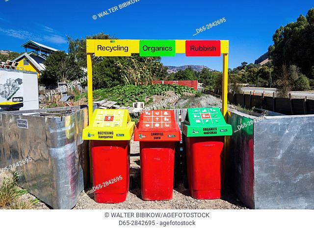 New Zealand, South Island, Canterbury, Banks Peninsula, Little River, Silo Stay Hotel, hotel in grain silo, recycling containers