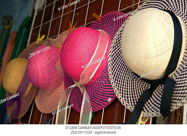 Hats for sale in a shop, Campeche City, Campeche State, Mexico, Central America