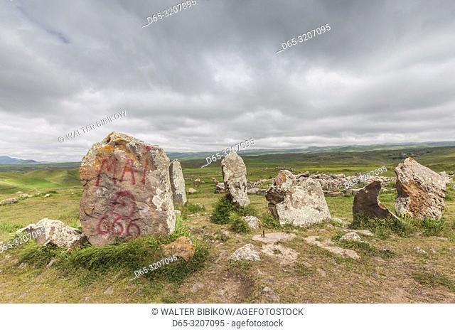 Armenia, Sisian, Zorats Karer, Carahunge, arranged stones dating back to 3000BC