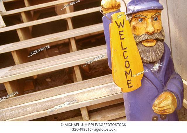'Welcome' sign on steps. Gig Harbor, Washington, USA