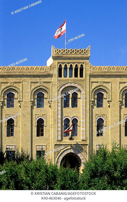 Facade of town hall with lebanese flag, Beirut, Lebanon, Middle East, Asia