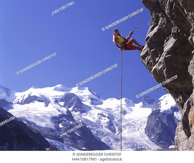 Climbing, woman, roping, Bernina region, Morteratsch, cliff, sports, spare time, adventure, glacier, Grisons, Graubund