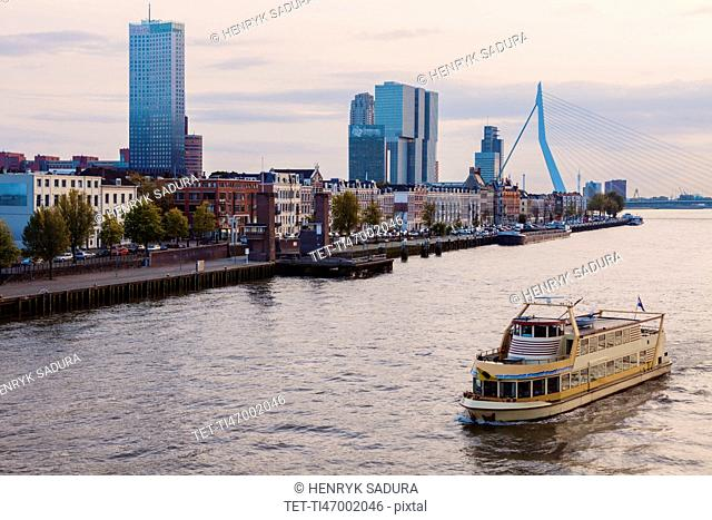 Netherlands, Rotterdam, Passenger craft on river