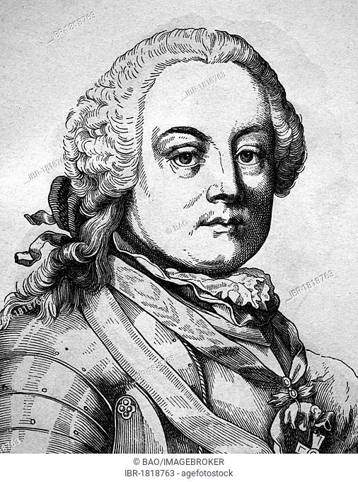 Leopold Joseph Maria, Count von Daun, imperial field marshal in the Seven Years' War, 1705 - 1766, historical illustration, portrait, 1880