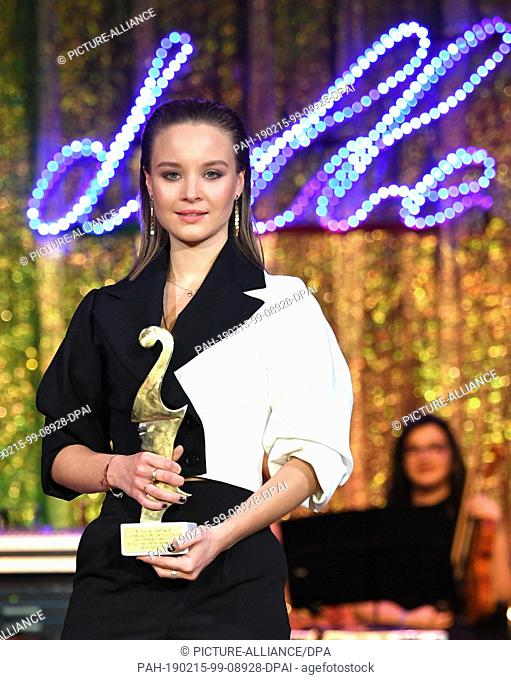 """15 February 2019, Berlin: 69th Berlinale - Notte delle Stelle: Sonja Gerhardt, actress, receives the """"""""Premio Bacco. The award is presented by Italian film..."""