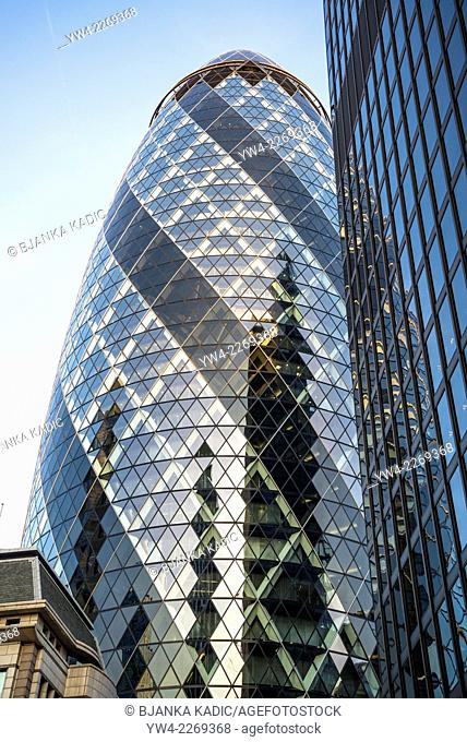Swiss Re Tower, The Gherkin, 30 St Mary Axe, Square Mile, City of London, UK