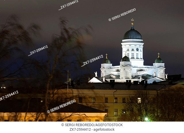 The Cathedral of Helsinki at night, Finland. Helsingin tuomiokirkko or Helsinki Cathedral was built by Carl Engel Lugvig under Russian administration in 1850