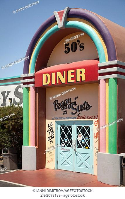 Peggy Sue's 50's Diner colourful entrance near Yermo,California ,USA