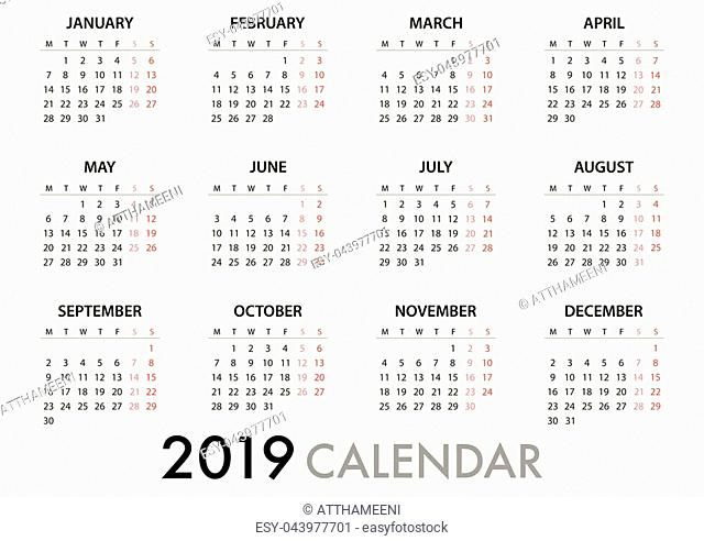 Calendar for 2019 on white background with quote message. Week Starts Monday. Simple Vector Template