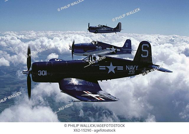 World War II US fighters: F4U Corsair (in foreground), F6F-5 Hellcat (centre), F4F Wildcat (in background)