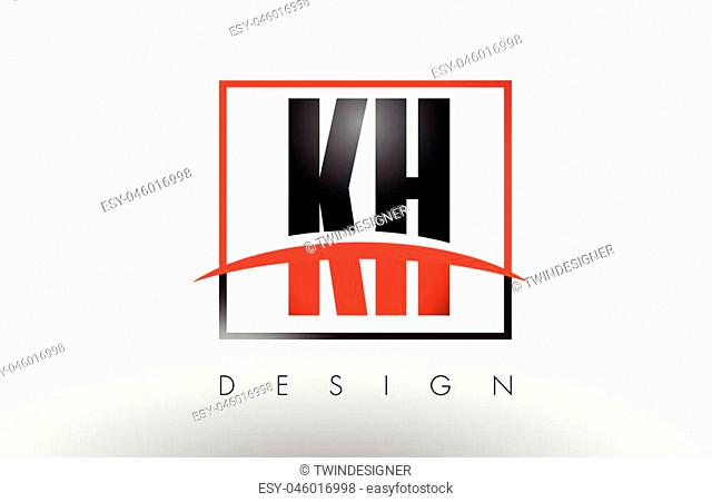 KH K H Logo Letters with Red and Black Colors and Swoosh. Creative Letter Design Vector
