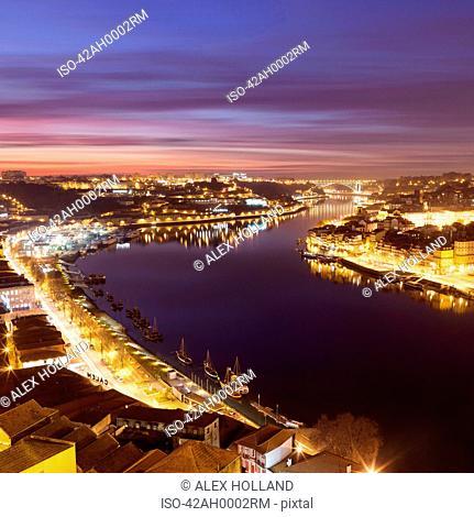Porto skyline lit up at night