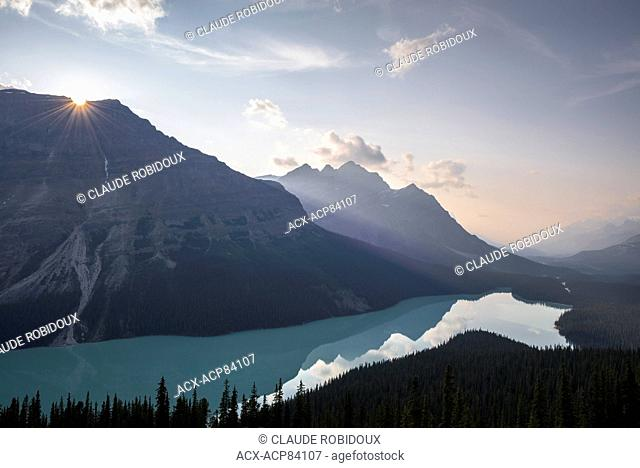 Sun setting above Peyto Lake. Banff National Park, Alberta, Canada