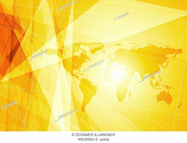 Bright orange world map technology background