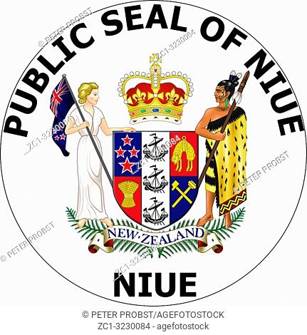 Seal of the island Niue in the South Pacific Ocean