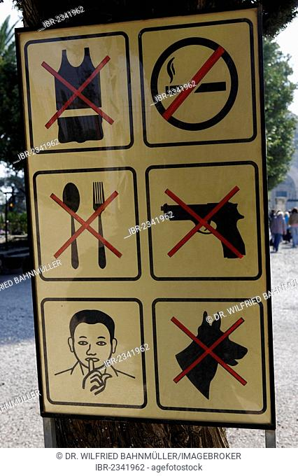 Warning signs, pictograms, Mount Tabor, Galilee, Israel, Middle East