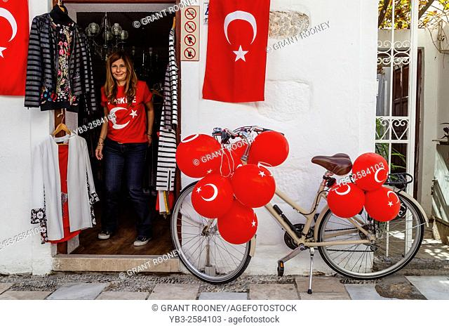 A Shop In Bodrum Old Town Proudly Displays The Turkish Flag DuringThe Run Up To The Countries 2015 Elections, Bodrum, Mugla Province, Turkey