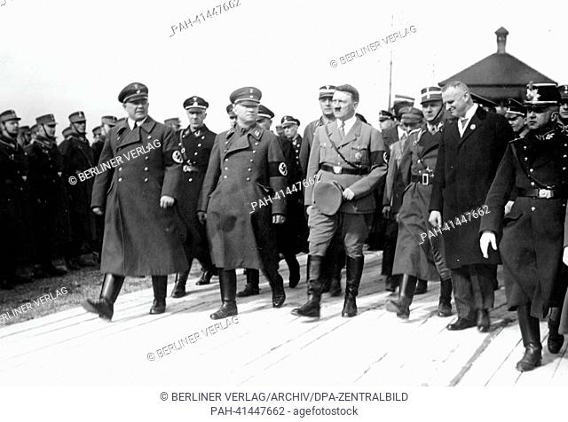 The image from the Nazi Propaganda! shows Adolf Hitler on the occasion of the cornerstone laying ceremony for the Richard Wagner Memorial in Leipzig, Germany