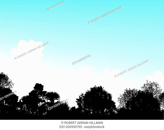 Editable vector illustration of tree silhouettes and a summer sky