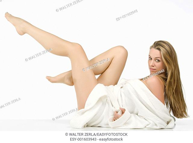 beautiful blonde woman with long legs
