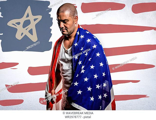 Man wrapped in american flag against hand drawn american flag and white wall