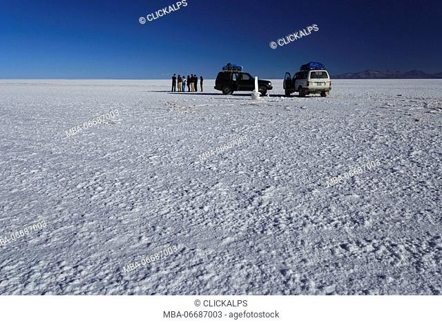 Salar de Uyuni, the world's largest salt flat in the world, 10500 square kilometers. Elevation 3566 m asl. Located in Uyuni, Potosi, Bolivia, South America