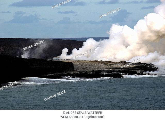 Lava flowing into the Pacific Ocean, Volcanoes National Park, Big Island, Hawaii, USA