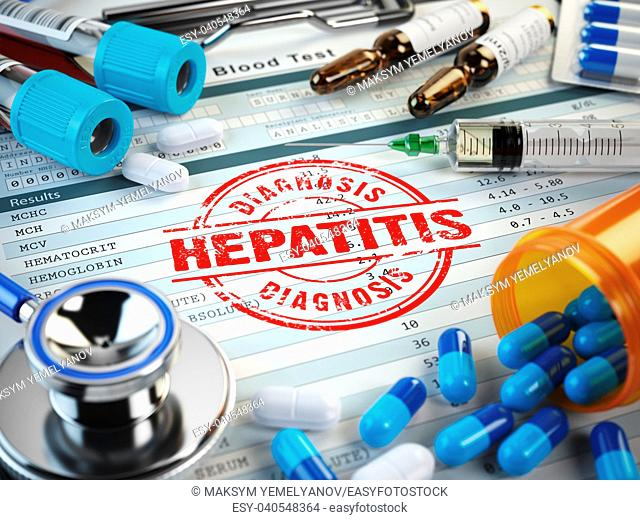 Hepatitis disease diagnosis. Stamp, stethoscope, syringe, blood test and pills on the clipboard with medical report