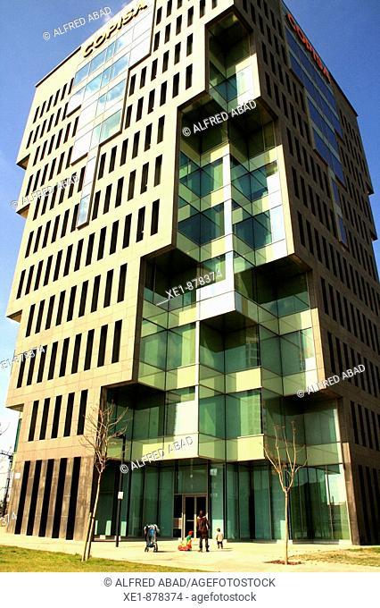 Copisa building in Plaça Europa, Hospitalet de Llobregat. Barcelona province, Catalonia, Spain