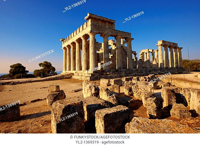 The Greek Doric Temple of Aphaia 500BC  Aegina, Greek Saronic Islands