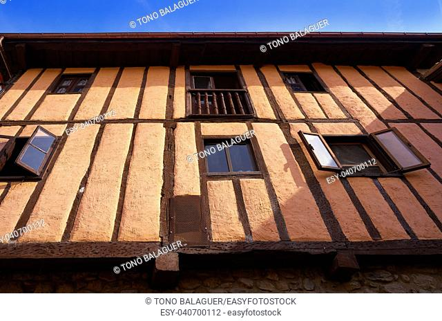 Potes village facades in Cantabria of Spain