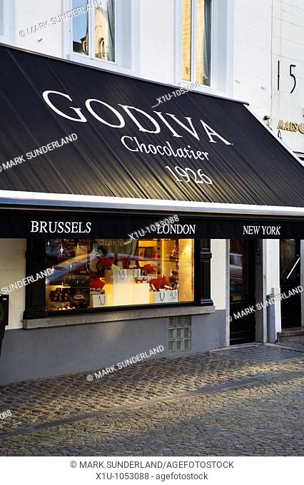 Godiva Chocolate Shop in Place du Grand Sablon Brussels Belgium