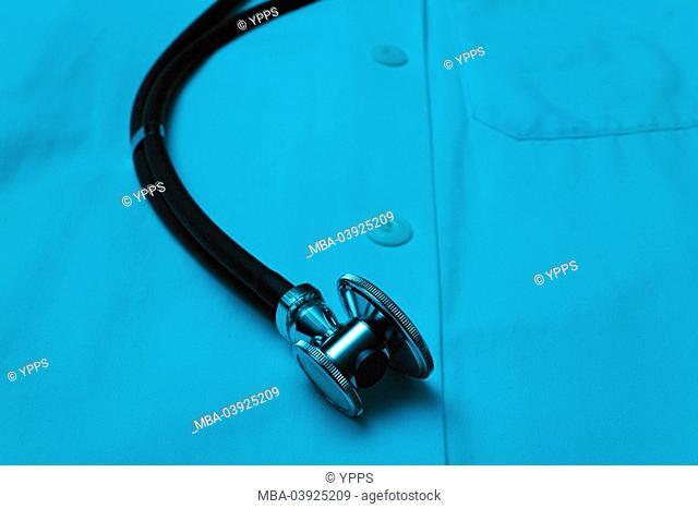 Stilllife, medicine, doctor's white coat, stethoscope