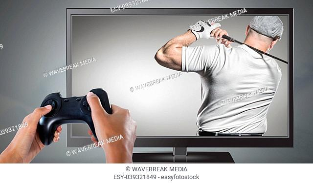 Hands holding gaming controller with golf player on television
