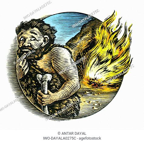 Caveman encountering fire