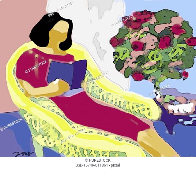 Afternoon Reading 2002 Diana Ong (b. 1940/Chinese-American) Computer graphics