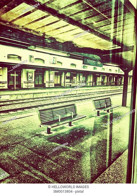 Train at platform, Nevers, Bourgogne-Franche-Comte, France, Europe