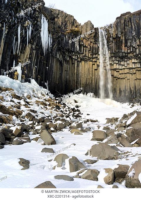 Svartifoss waterfall in Vatnajoekull NP during Winter. europe, northern europe, scandinavia, iceland, February