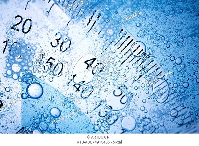 Close-up of a protractor in water