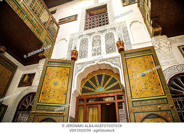 Inner courtyard of a typical Moroccan riad or hotel. Souk Medina of Fez, Fes el Bali. Morocco, Maghreb North Africa