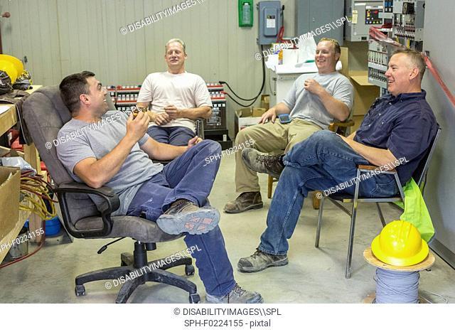 Engineers taking a break