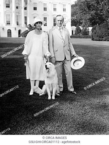 U.S. President Coolidge and Mrs. Coolidge with dog Outside White House, Washington DC, USA, circa 1927