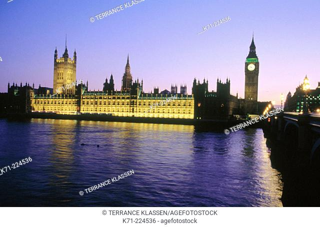 Houses of Parliament and Thames River. London. England
