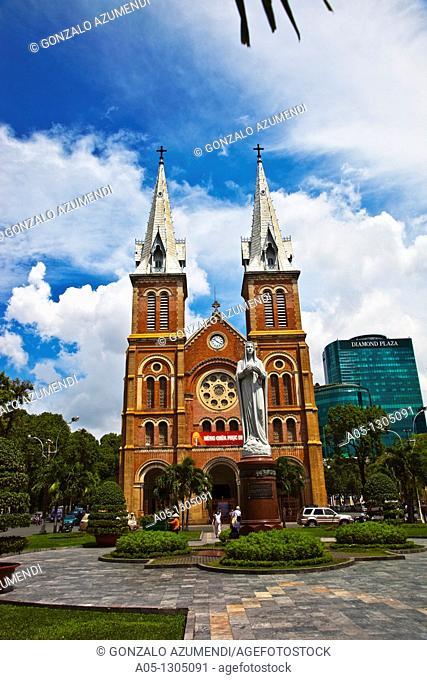 Notre Dame Cathedral. Ho Chi Minh City (formerly Saigon). South Vietnam