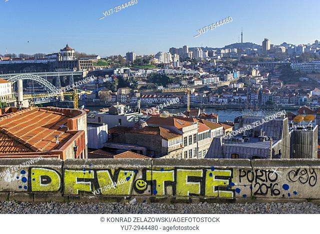 Aerial view on the Old part of Porto city on Iberian Peninsula, second largest city in Portugal. Vila Nova de Gaia city on background